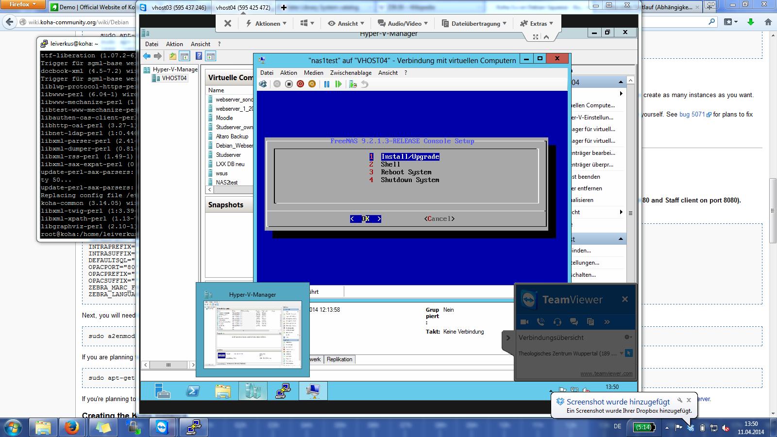 Screenshot diverse Fenster Virtualisierungssoftware (auf Windows 7)