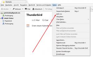 Menü Extras Thunderbird