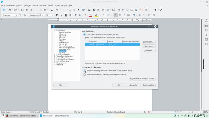 LibreOffice Beta Funktionen aktivieren