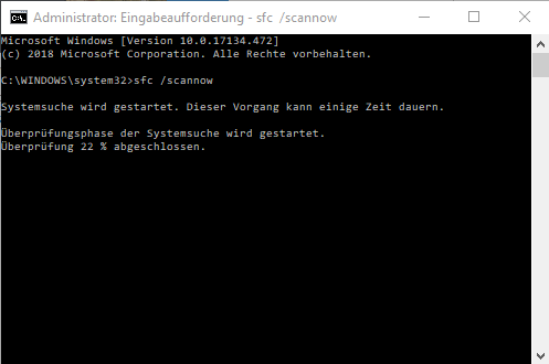 Windows Eingabeauffoderung sfc /scannow