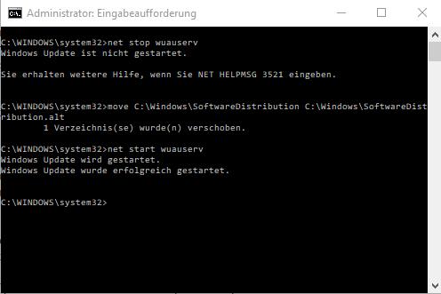 Eingabeaufforderung Windows mit Befehlen für die Behandlung der Windows-Update-Dienste