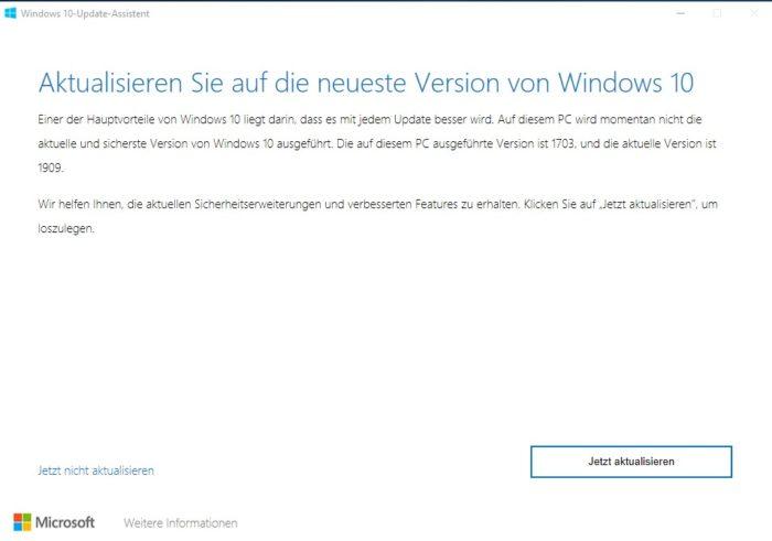 Bildschirmfoto Aktualisieren Sie auf die neue Version von Windows 10, Update 1703 (Stand März 2017) auf 1909 (Stand September 2019)