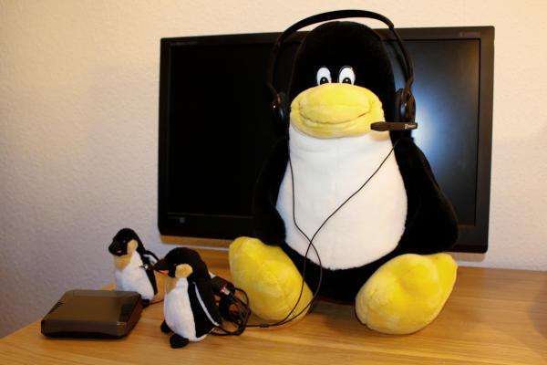 Tux mit Headset vor Bildschirm