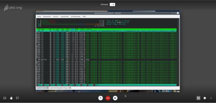 Ausgabe Linux Befehl htop während der Konferenz. Die Systemlast liegt recht hoch, der Arbeitsspeicher ist fast komplett ausgenutzt am Server